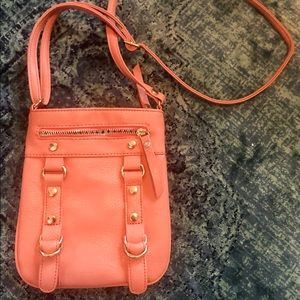 charming charlie peach faux leather crossbody